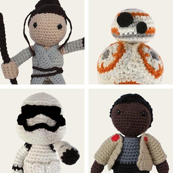Star Wars Pack: Rey, Finn, BB-8 & Stormtrooper. Amigurumi Pattern PDF.