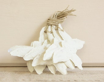 READY TO SHIP Handmade Paper Gift Tags-Off-White Butterflies, Set of 6