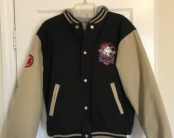 Mickey Mouse 'No Foolin' True Blue Classic 90's Bomber Jacket w/ detachable hood
