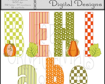 Instant Digital Download Alphabet Set, Digital Alphabet Clipart, Printable Alphabet Letters, Fall Colors, Orange And Green, Dots And Stripes