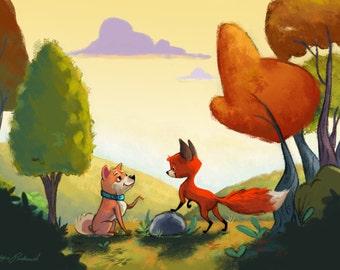The Fox and the Shiba Inu Print