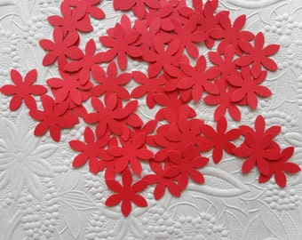 50 Red Flower Confetti-1 Inch-Scrapbooking-Gift Wrapping-Embellishments-Wedding-Party-Cards-Die cuts-Punches