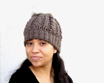 Pom Pom Hat, Crochet Pom Pom Hat, Tam Hat, Crochet Hat, Color is Taupe,