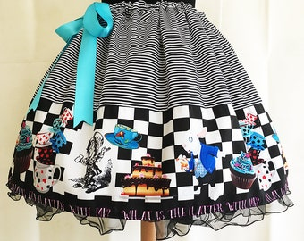 Mad Hatter Costume,ADULT, UK, Skirt, Fantasy Clothing, fantasy skirts,Mad hatters Tea Party skirt, Alice In Wonderland Skirt By Rooby Lane