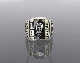 Vintage Sterling Silver High School Black Onyx Men's Ring Size 9