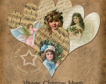 Vintage  Christmas Heart Tags  Printable Digital Download
