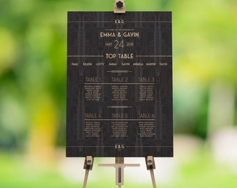 Art Deco Wedding Table Plan, Wedding Seating Plan, Seating Plan, Wedding Seating Sign, Wedding Seating Chart, Earl's Court Collection
