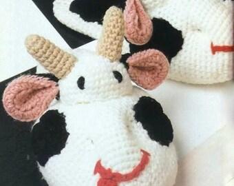 INSTANT DOWNLOAD PDF Vintage Crochet Pattern  Cow Slippers   Novelty