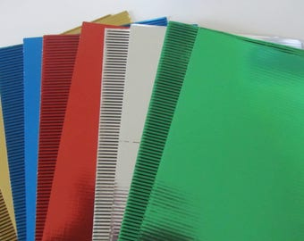 Set of 10 corrugated cardboards metal different tones - see photos