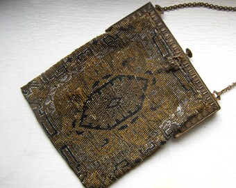 Art Deco Steel Beaded Purse in Copper Silver Brass Micro Beads Lined in Silk Beautiful Frame & Toggle 1910's Geometric Design Downton Abbey