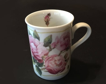 Botanical Floral Avon Coffee Cup with Pink Roses