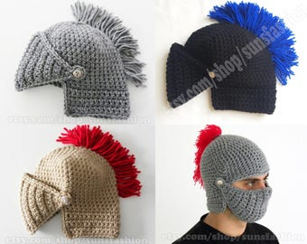 mens winter boyfriend gift Mens Knight Helmet Hat Crochet Slouch Mens Handmade Winter Men Snowboard Ski Hat unisex FREE SHIPPING