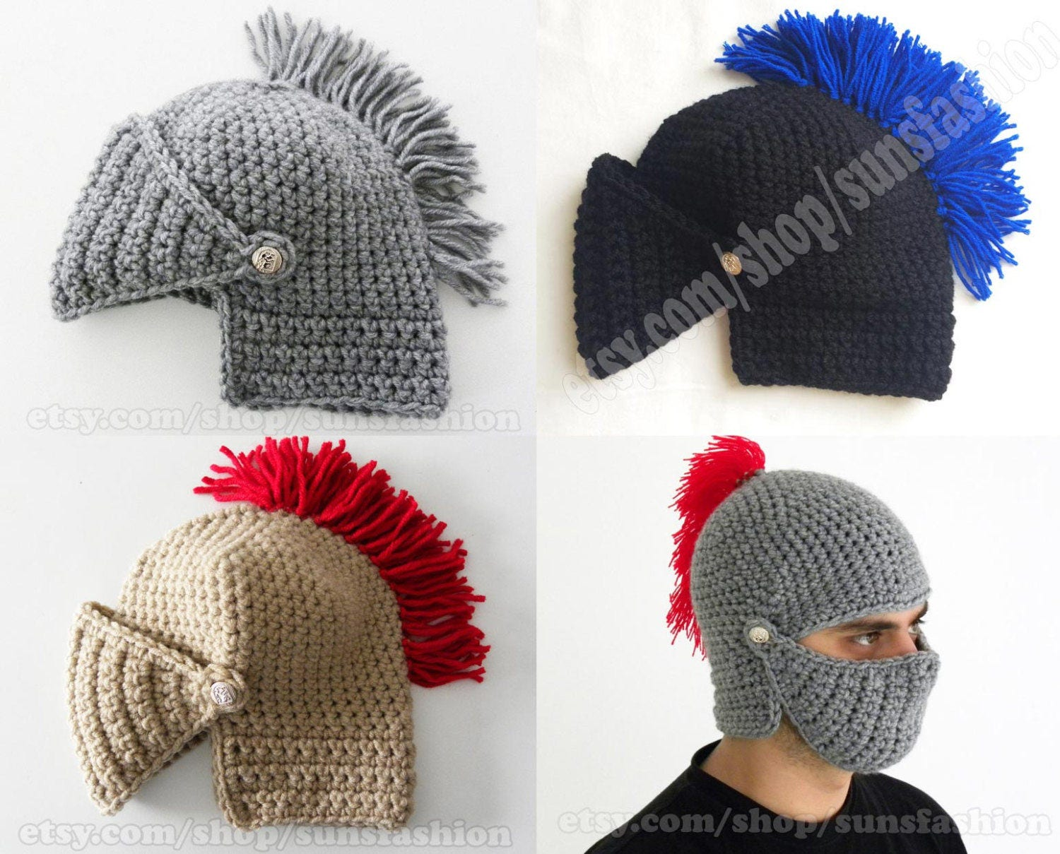 Attractive Knight Helmet Crochet Pattern Images - Sewing Pattern for ...