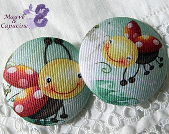 2 buttons fabric, printed ladybugs, 1.25 in / 32 mm