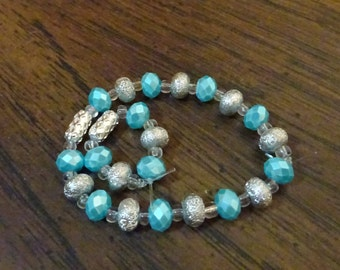 Aqua Blue and Silver Beaded Barbie Crown and Anklet (DA6)