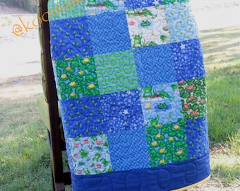 Baby blanket, crib blanket, frogs, lily pads, hues of blues greens yellows