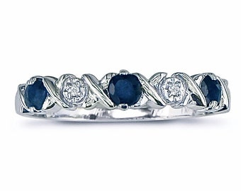 """10K White Gold Sapphire And Diamond  """"XO"""" Band, Available In Sizes 4.5 - 9.5"""