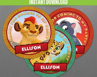 The Lion Guard Favor Tags - Instant Download and Edit with Adobe Reader