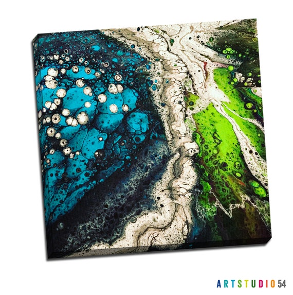 "Liquid Art #7 Abstract Art Canvas - 16""x20"" or 20""x20"" - 1-1/4"" Thick Bar Gallery Wrapped Canvas - Artstudio54 - Liquidart54"