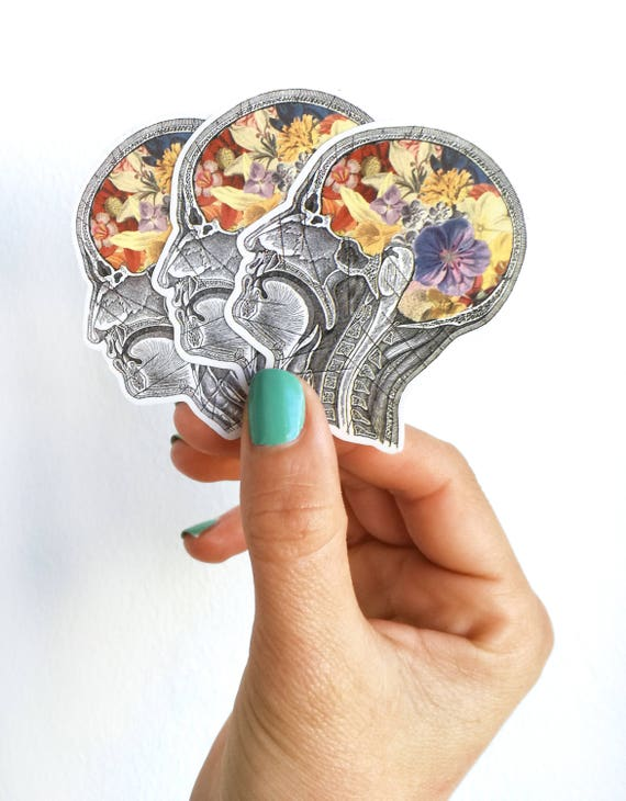 Flowery Brain,Human head with flowers stickers, laptop stickers,Decal stickers , Medical student gift, BFF gift Girls. STC009
