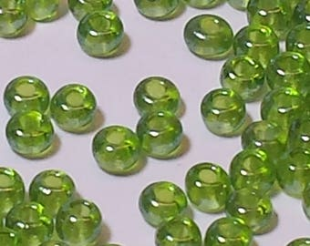 Green Apple Colored Vintage Size 12 Seed Beads
