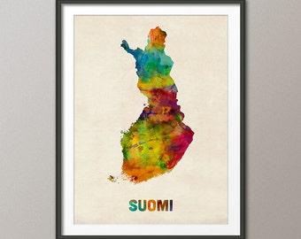 Finland Watercolor Map (Suomi), Art Print (999)