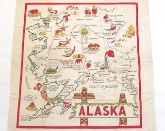 Alaska Tablecloth Map Cactus Cloth Red Green Vintage Tablecloths