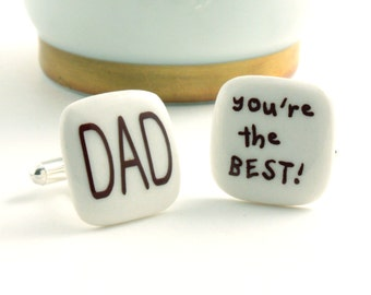 Dad Cuff links Porcelain The Best Fathers Day Gift Present Christmas Handmade White Brown