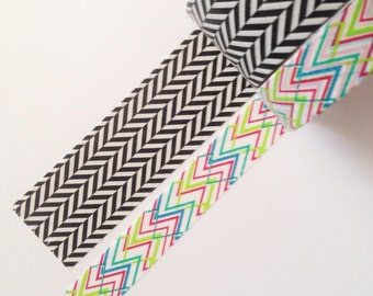 Unique Chevron - Washi Japanese Tape - 10 metres (1 of each available ) choose 1