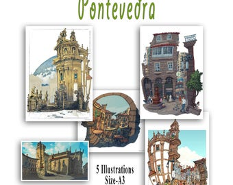 Pontevedra: Pack de 5 illustrations