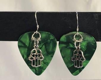 Hand made green guitar pick hamsa earrings