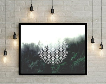 Sacred Geometry Forest Poster, Nature Photography, Nature Art, Abstract Art, Urban Decor, Hipster Decor, Geometric Print, Boho Decor, Hippie