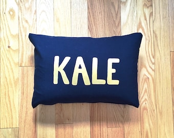 Hand Painted Kale Pillow