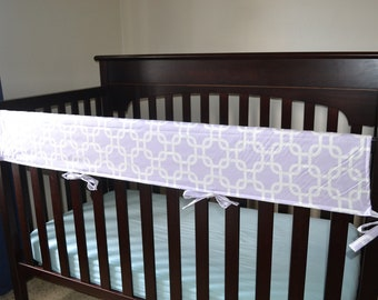 print covers cribs guard cover gray guards crib damask long baby grey for rail padded white