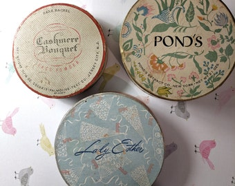 Vintage 1950s Cardboard Powder Containers, Powder Boxes by Ponds, Lady Ester, and Cashmere Bouquet, Vintage Cosmetics