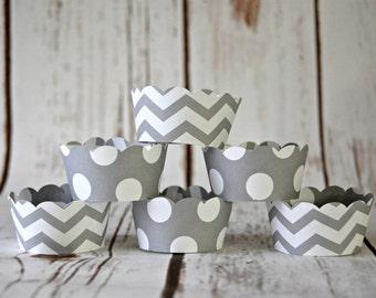 MINI Cupcake Wrappers, Grey Chevron Cupcake Wrappers, Reversible Cake Wraps, Cupcake Decoration (set of 12)