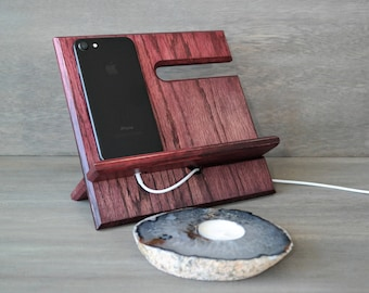 Ombre Style Two-Toned Universal Docking Station for iPhone, Android, Cell Phone, Watch Storage. Holiday Colors
