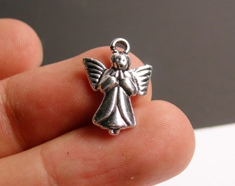 40 Angel charms - hypoallergenic - antique silver angel charms -  ASA7