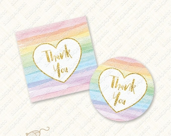 Printable Rainbow Thank You Tag with heart watercolor stripe favor tags gold foil text stripes instant download thanks digital diy pdf