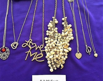 Vintage Fashion Jewerly 7Pc. Mixed Neclaces, Chocker, 7 Dollars Each Item!