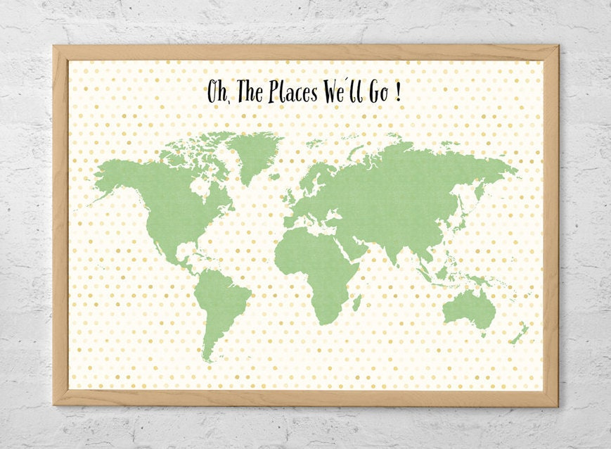 Travel map poster oh the places well go world map zoom gumiabroncs Image collections