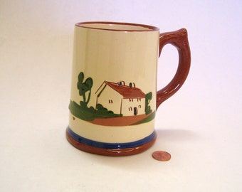 Vintage Torquay Mottoware Pottery Mug 16 ounce British Pottery No Road is Long