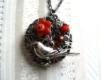 Raven locket necklace, gunmetal, filigree scent locket