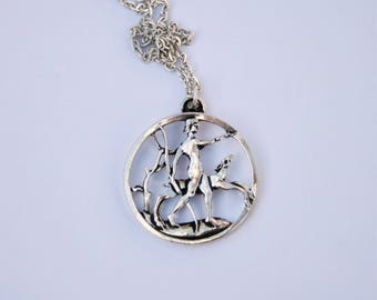 Diana Roman Goddess Of Hunting Artemis // Celtic Earth Goddess Pendant // Silver Plated // Artist Signed // Made in England