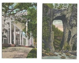 Hand Colored 4 Virginia Postcards U of V Homestead Hot Springs Mimslyn Hotel Natural Bridge