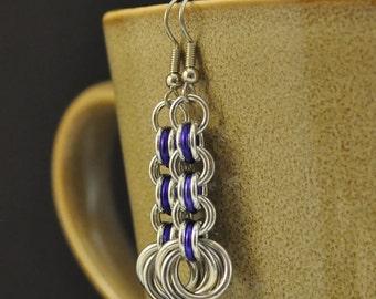 3in3 Dark Purple and Silver Earrings E65