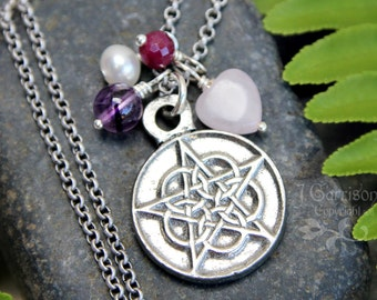 Pentagram Necklace - Pewter charm, quartz, amethyst, ruby, pearl - wiccan pagan - Free Shipping USA - Protection, Wisdom & Empowerment