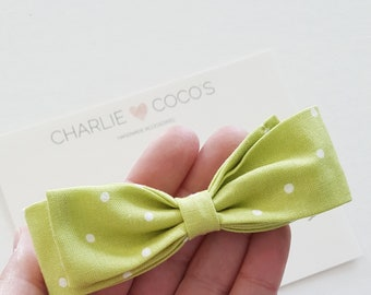 Baby / Girls Fabric Bow Headband or Hair Clip, Polka Dot Hair Bow, White Polka Dot Baby Hair Bow, Summer Baby Bow by charlie cocos