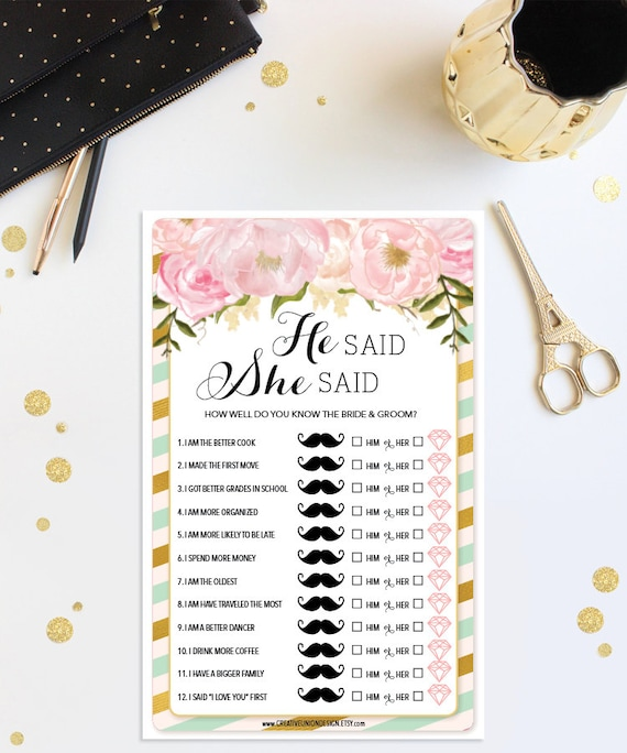 He Said She Said Game Mint And Gold Bridal Shower Game