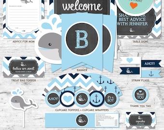 Whale Baby Shower Decorations, Blue, Gray, Navy, Chevron, Chalkboard | DIY